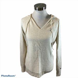 Calia Small Oatmeal Colored Ribbed Hooded Sweater
